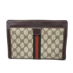100% Auth Gucci Clutch/ Pouch Canvas Bag